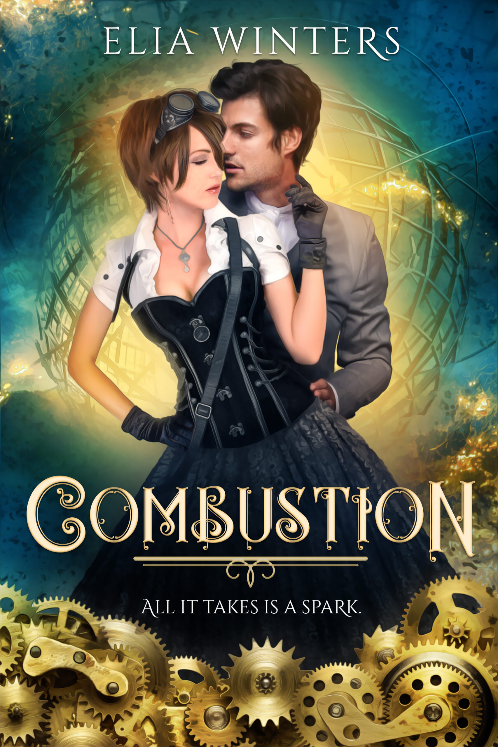 Combustion cover, which includes two hot people in a clinch, gears, and a very steampunk aesthetic