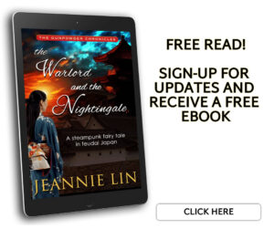 Free Read: Sign-up for updates and receive a free ebook. Image of e-reader with cover of The Warlord and the Nightingale