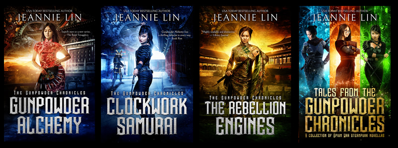 Gunpowder Chronicles: 4 Chinese steampunk book covers depecting strong women with imperial China backdrop